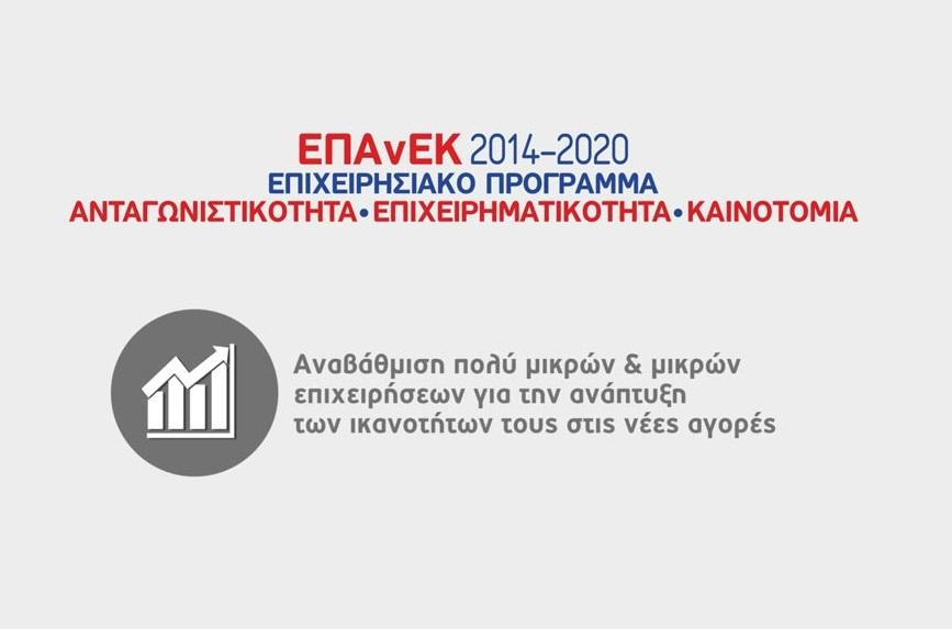 (Ελληνικά) «Αναβάθμιση πολύ μικρών & μικρών επιχειρήσεων για την ανάπτυξη των ικανοτήτων τους στις νέες αγορές», ΕΣΠΑ 2014 – 2020